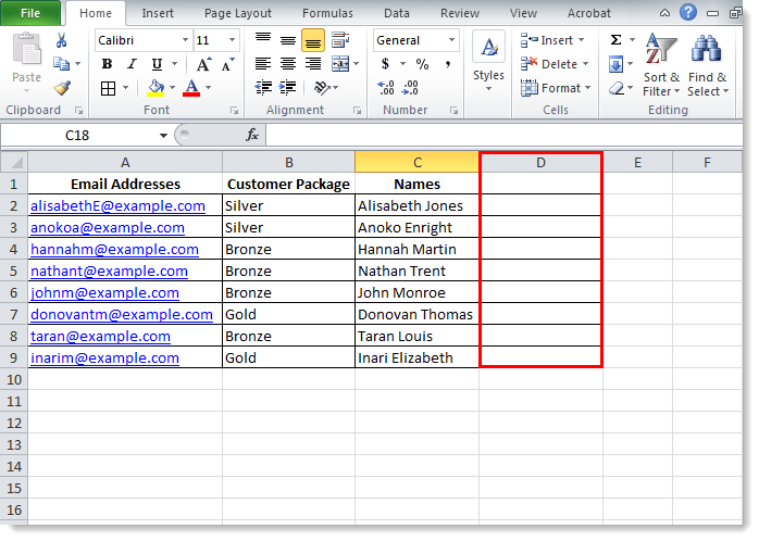 Separate Contacts' First Name and Last Name in Excel