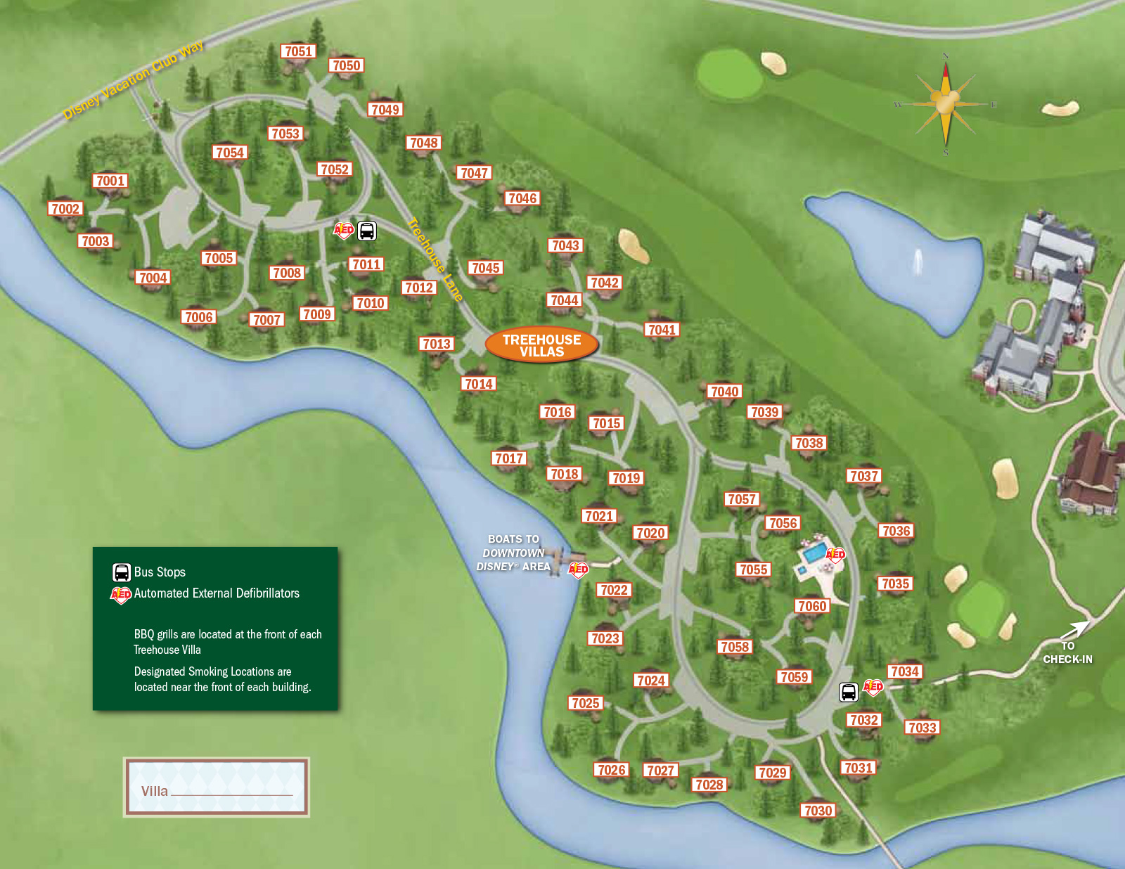 2013 Treehouse Villas Guide Map - 1 Of