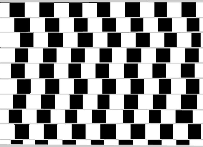 Acredite, as linhas horizontais são paralelas. Pode pegar uma régua ou um caderno e ver você mesmo. O cérebro enxerga as linhas tortas por causa da disposição não uniforme dos quadrados, que parecem menores ou maiores -  Reprodução