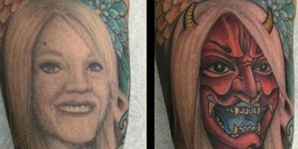 12.abr.2016 - O tatuador JoJo Ackermann postou nas redes sociais a tatuagem de um cliente que transformou o rosto da ex-mulher em um 'diabo'