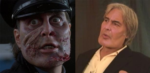 """À esquerda, Robert Z'Dar em """"Maniac Cop"""" e, à direita, em uma entrevista em 2009"""