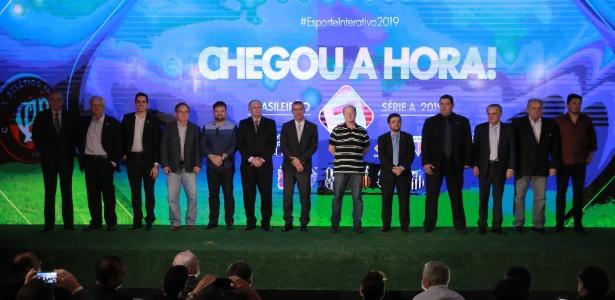Presidentes de clubes que firmaram parceria com o Esporte Interativo