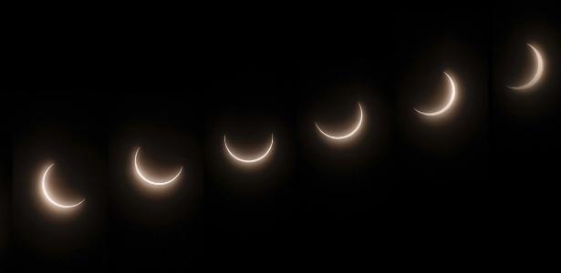 Eclipse solar visto da Estação Casey, em Vincennes Bay, na Antártida, em 2014