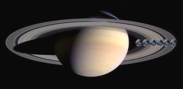 A Terra cabe 5,6 vezes no espaço da largura dos anéis de Saturno