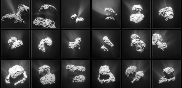 A Agência Espacial Europeia divulgou imagens da superfície do cometa 67P feitas pela sonda Rosetta entre 31 de janeiro e 25 de março deste ano, a distância de 30 a 100 km do cometa