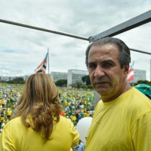 13.mar.2016 - O pastor Silas Malafaia participa de ato contra corrupção no governo Dilma