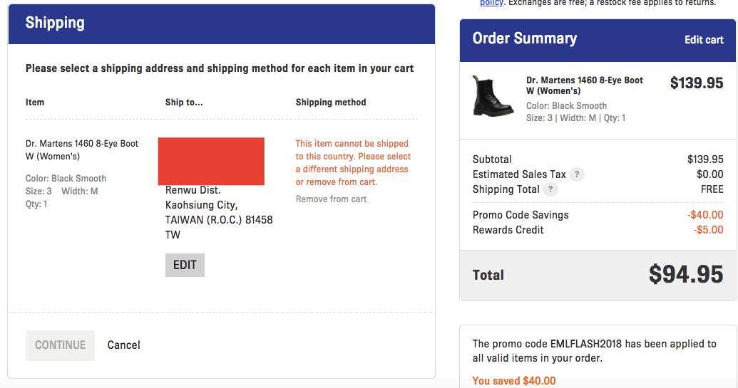 #發問 Shoes.com 無法運送臺灣嗎? - 網路購物板 | Dcard