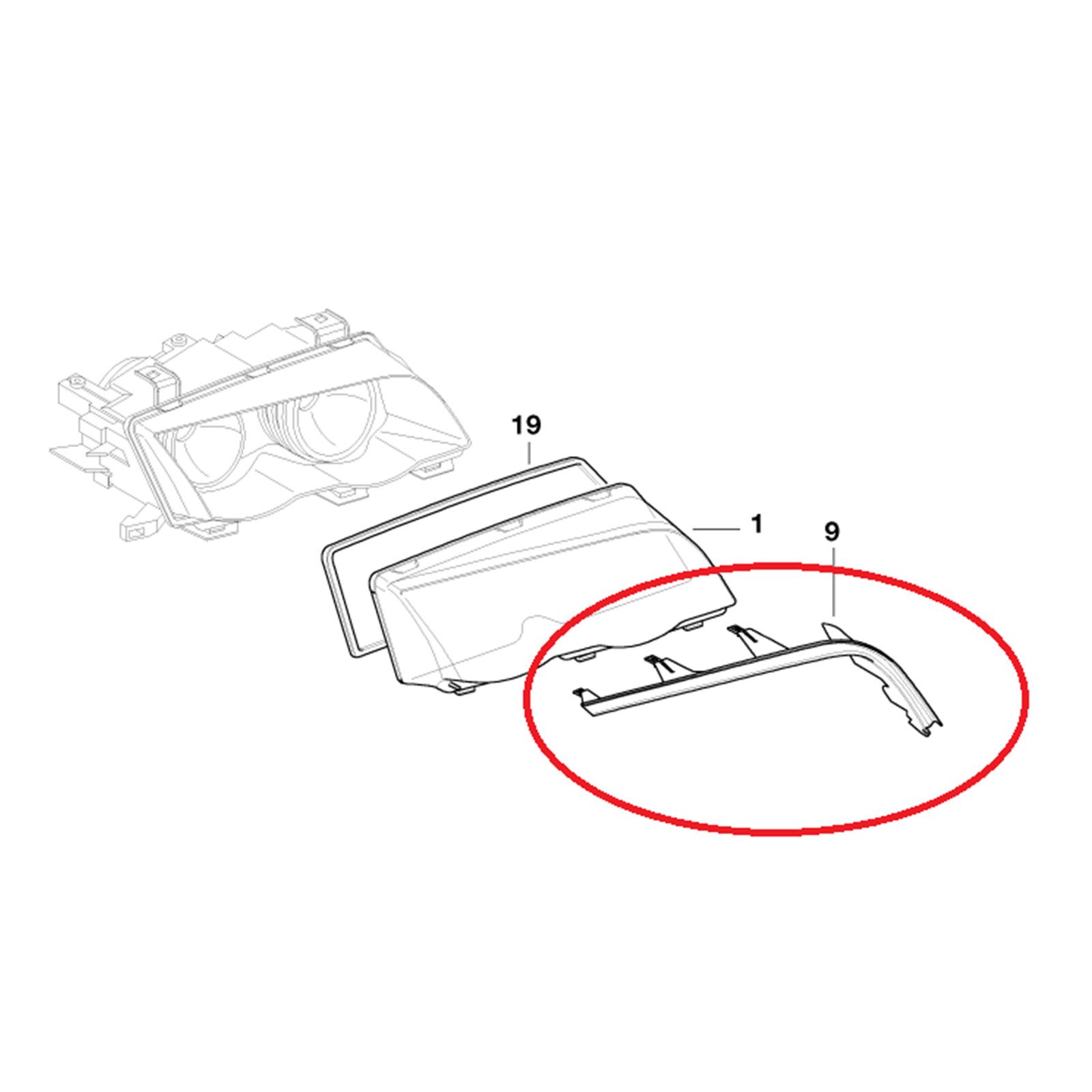 63128384487 63128384486 Pair Upper Headlight Cover Strip
