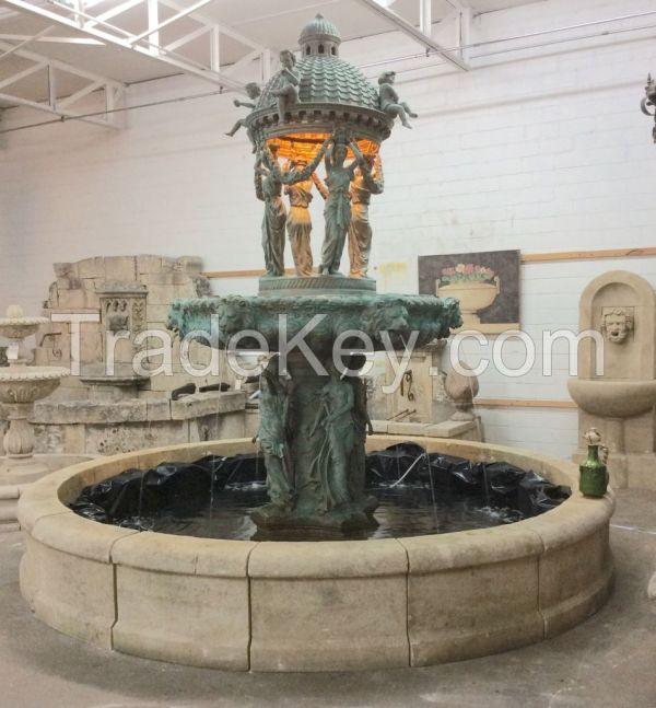 Antique Bronze Fountain With Lionhead Spouts .1870