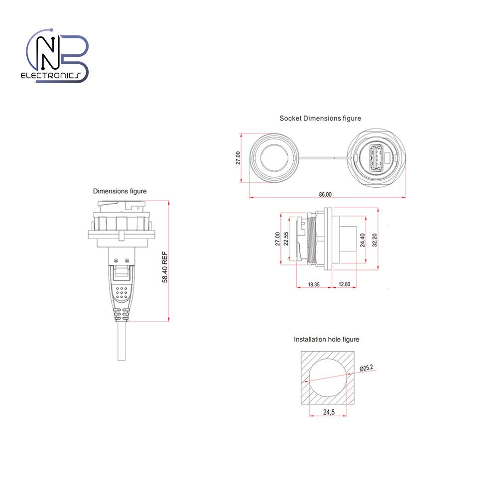 usb pinout diagram temperature gauge wiring 2 0 plug database rohs ul fireproof and ip67 waterproof data 3 connector for 5mm
