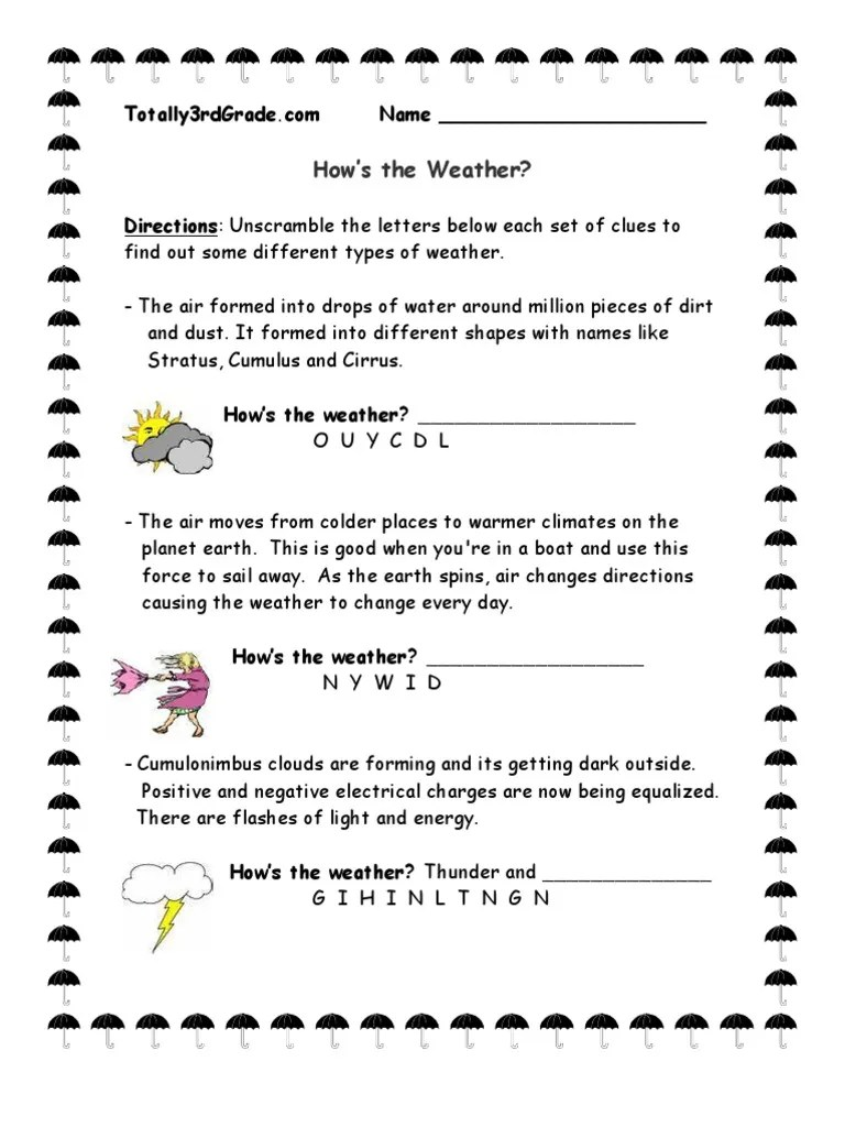 3rd Grade   Weather Worksheet [ 1024 x 768 Pixel ]