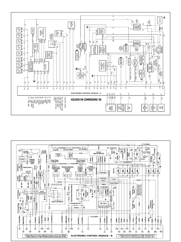 Holden VN Commodore V8 Electronic Control Module Wiring Diagram