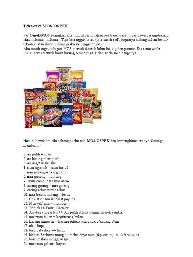 Teka Teki Mos Snack : snack, Ospek