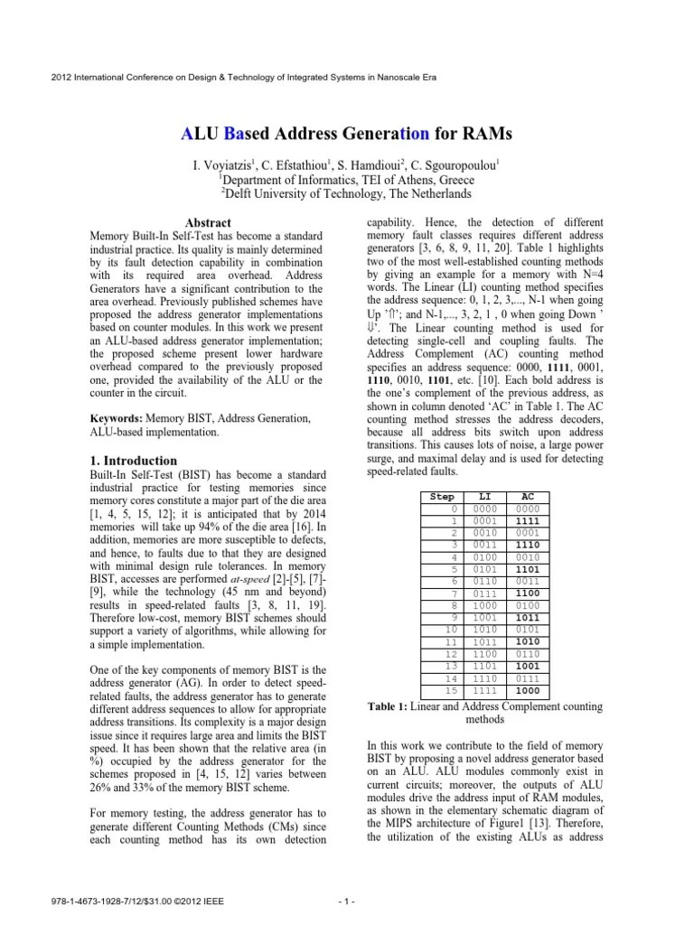 hight resolution of alu based address generation for rams electronic design areas of computer science