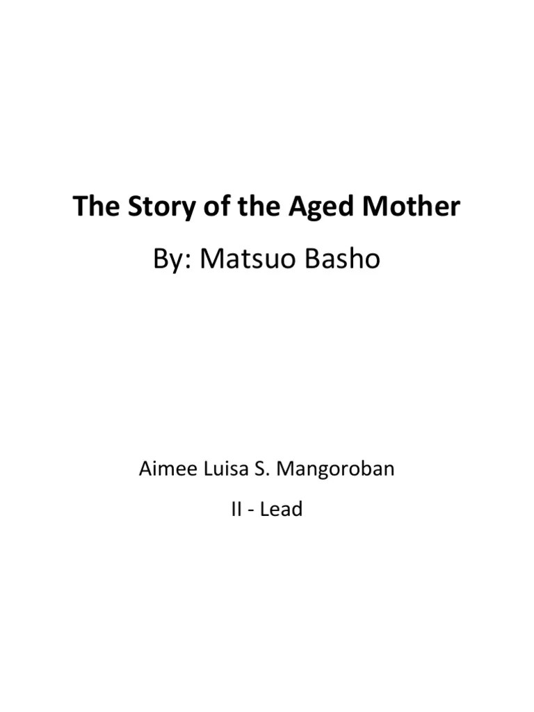 the story of the aged mother critical essay narration fiction literature [ 768 x 1024 Pixel ]