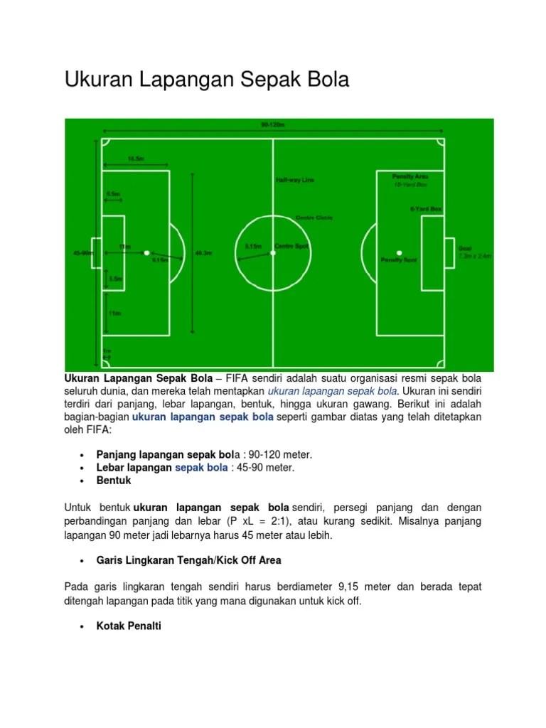 Ukuran Lapangan Sepak Bola Gambar Dan Keterangannya