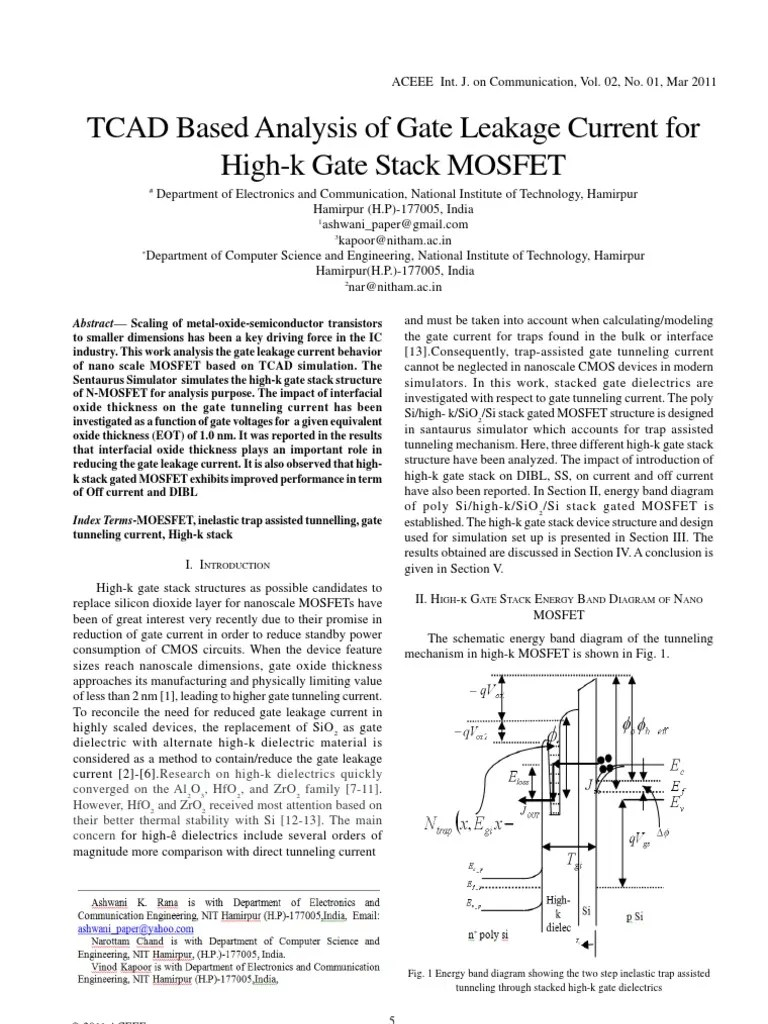hight resolution of tcad based analysis of gate leakage current for high k gate stack mosfet mosfet field effect transistor