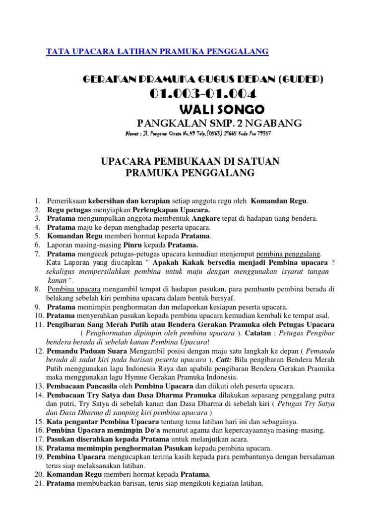 Tata Upacara Pramuka Siaga : upacara, pramuka, siaga, Upacara, Latihan, Pramuka, Penggalang