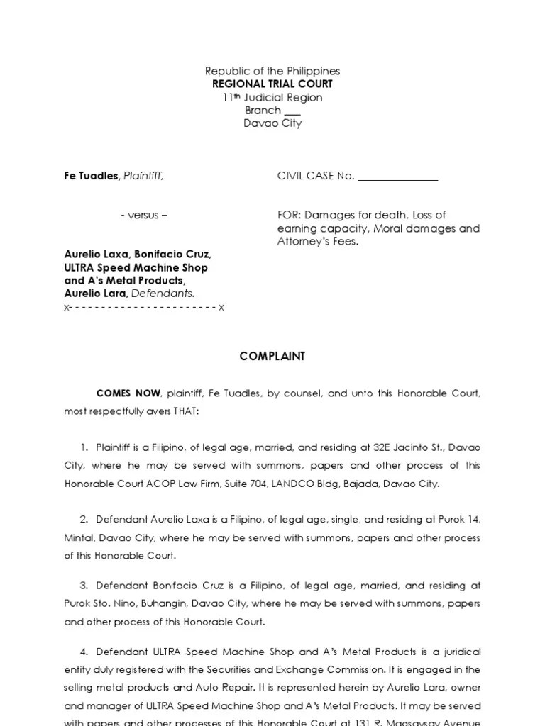 Sample Complaint  Summons  Damages