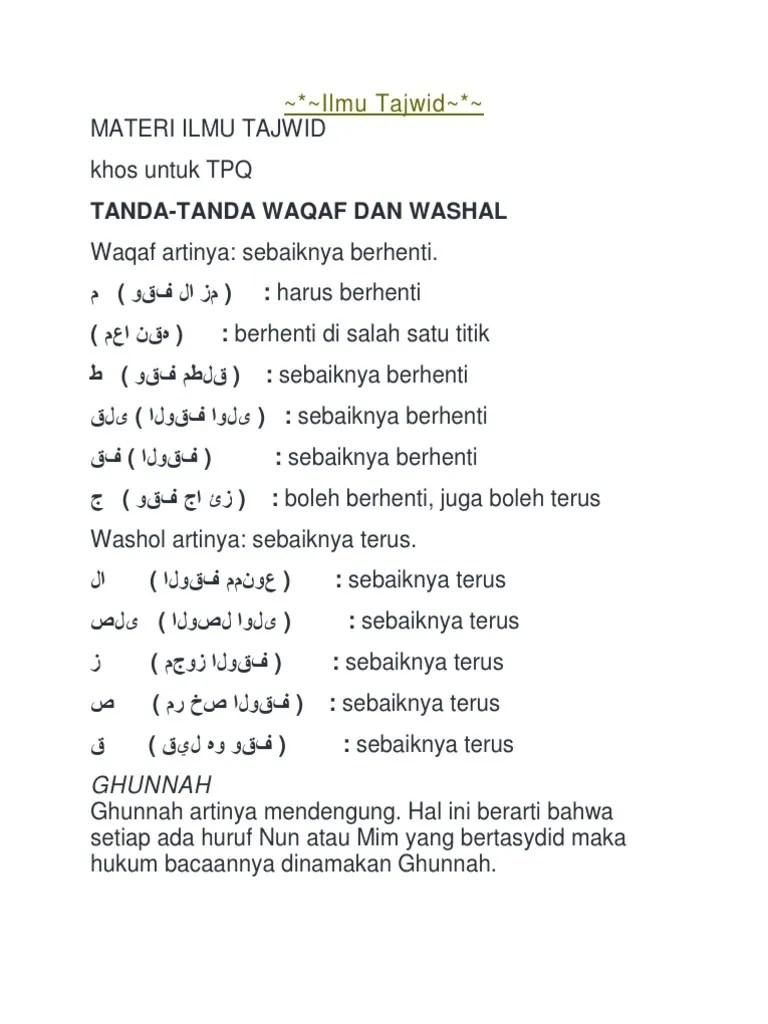 Tanda Tanda Waqaf Dan Artinya : tanda, waqaf, artinya, Tajwid