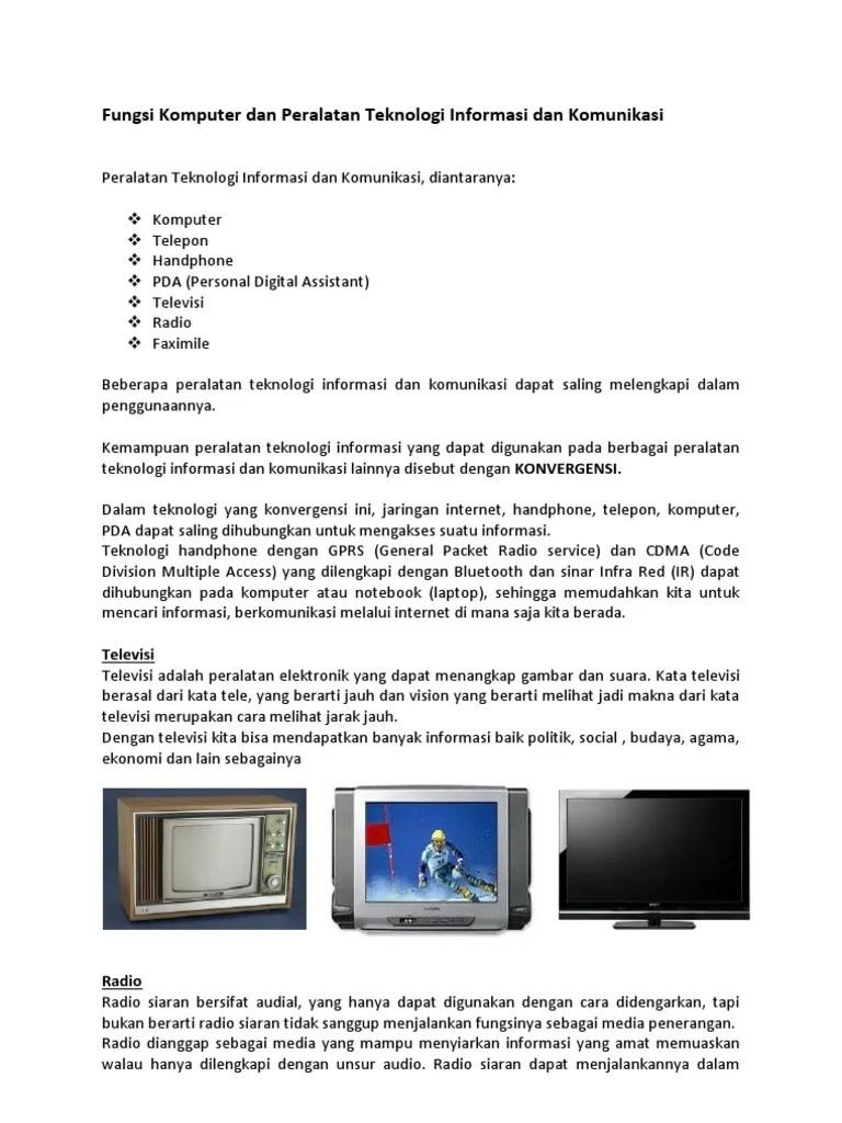 Sebutkan Peralatan Teknologi Informasi : sebutkan, peralatan, teknologi, informasi, Fungsi, Komputer, Peralatan, Teknologi, Informasi, Komunikasi