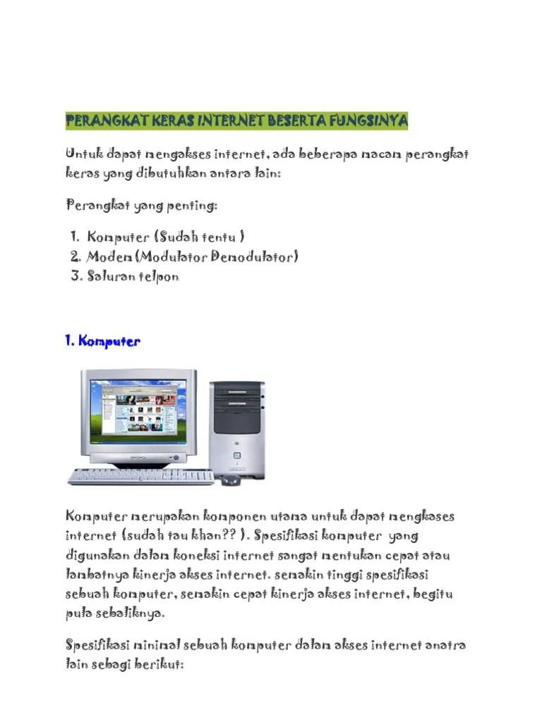 Perangkat Akses Internet Dan Fungsinya : perangkat, akses, internet, fungsinya, Perangkat, Keras, Internet, Beserta, Fungsinya:, Komputer