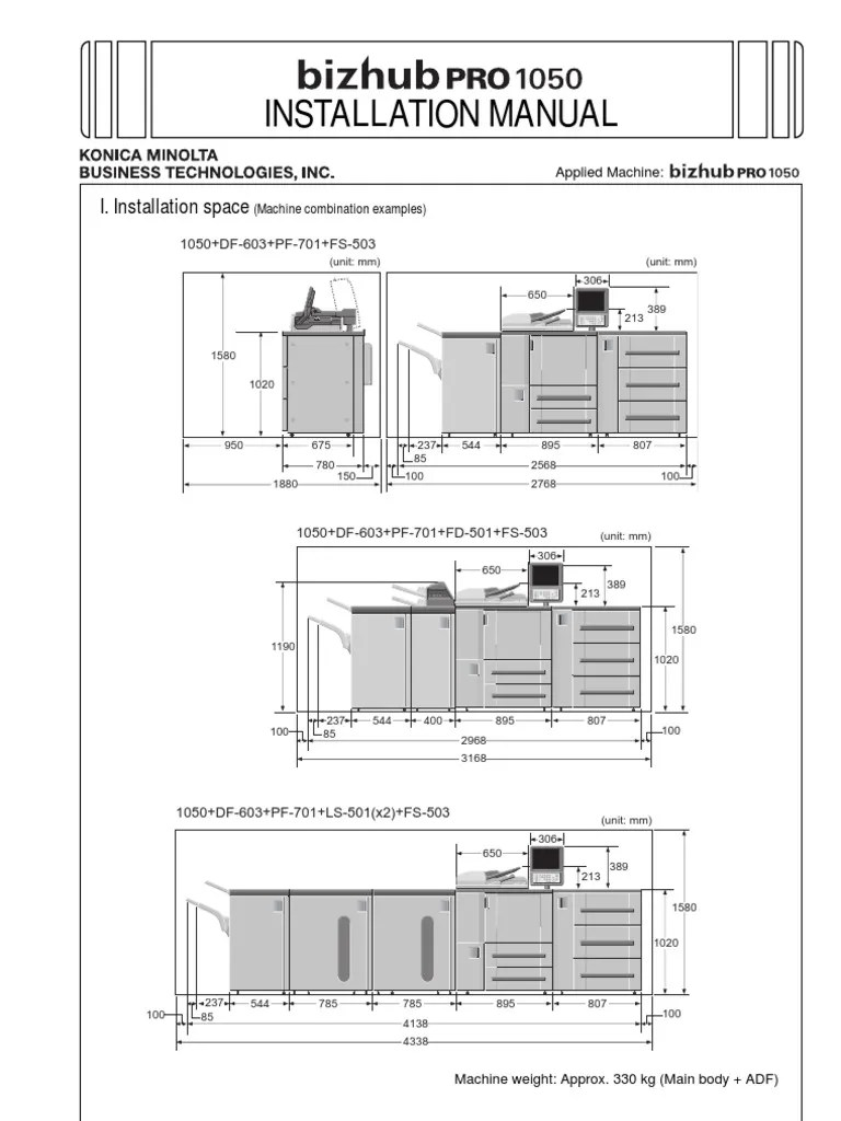 installation manual bizhub pro 1050 electrical connector computer network [ 768 x 1024 Pixel ]