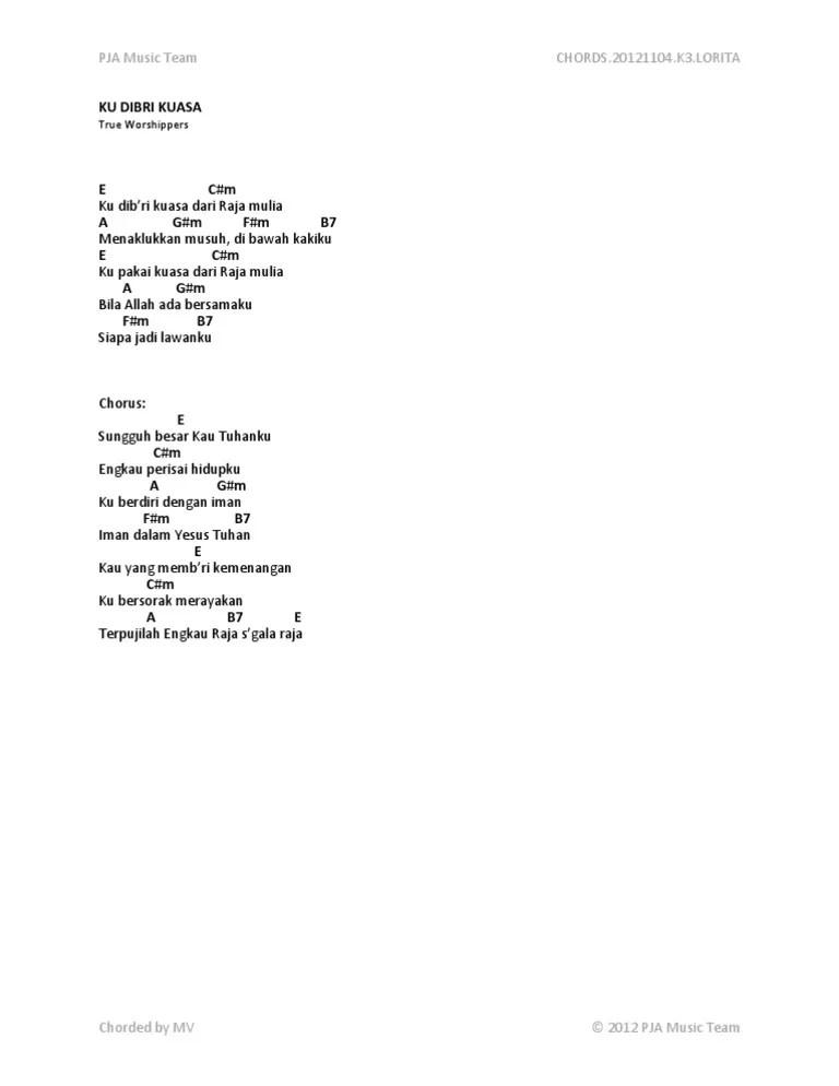 Lirik Lagu Ku Dibri Kuasa : lirik, dibri, kuasa, Dibri, Kuasa, Lirik, Chord, Walls