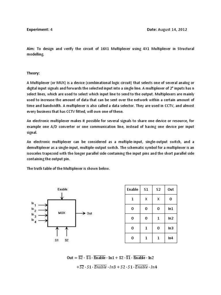 logic diagram of 4 to 1 multiplexer [ 768 x 1024 Pixel ]