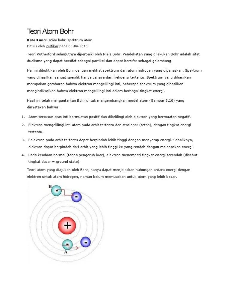Kelemahan Model Atom Bohr Adalah : kelemahan, model, adalah, Teori