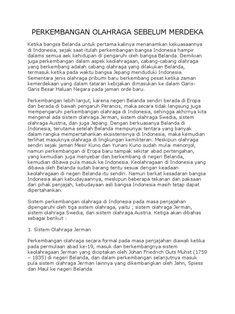 Sejarah Perkembangan Olahraga Di Indonesia : sejarah, perkembangan, olahraga, indonesia, Perkembangan, Olahraga, Sebelum, Merdeka