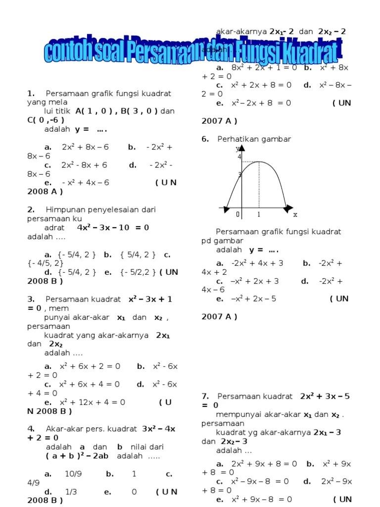 Contoh Soal Persamaan Kuadrat : contoh, persamaan, kuadrat, Contoh, Persamaan, Fungsi, Kuadrat, 2.doc