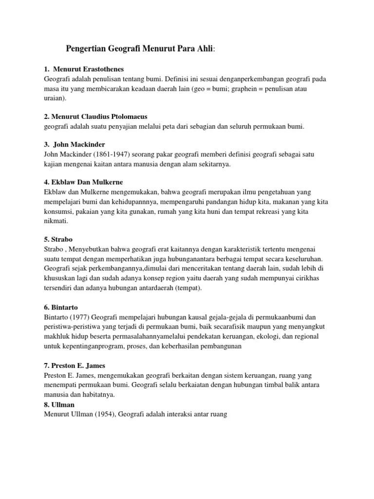 21 Pengertian Geografi Menurut Para Ahli di Dunia - IlmuGeografi.com