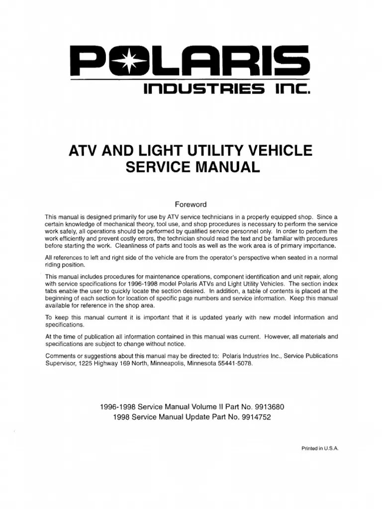medium resolution of polaris atv service manual 1996 1998 all models suspension vehicle gallon