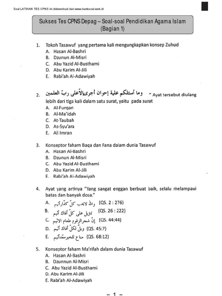 Soal Tes Cpns Kementerian Agama Pdf : kementerian, agama, Www.banksoal.web.Id], Sukses, Depag, Paket, Pendidikan, Agama, Islam, (Bagian