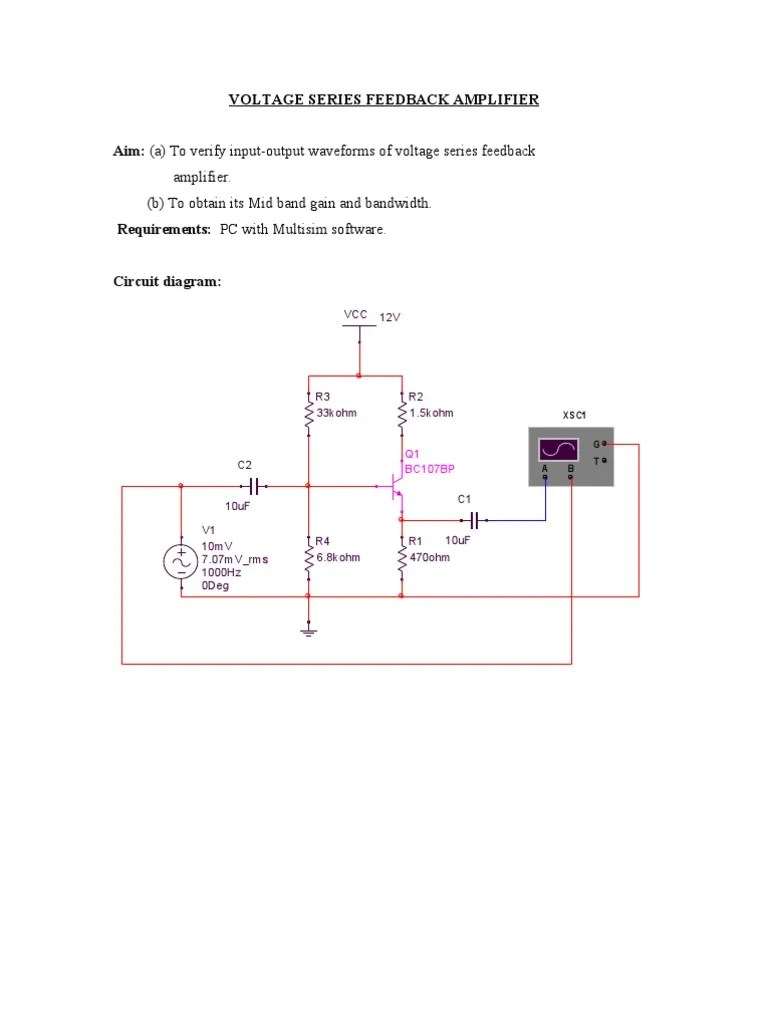 hight resolution of voltage series feedback amplifier feedback bandwidth signal processing