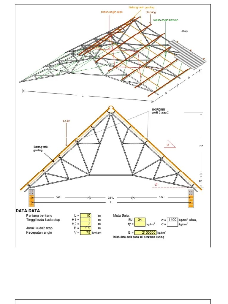 kuda baja ringan bentang 10 m perencanaan rangka atap