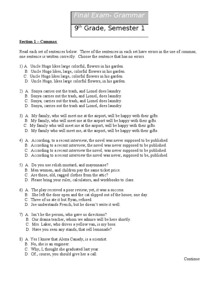 hight resolution of grammar practice   Comma   Pronoun