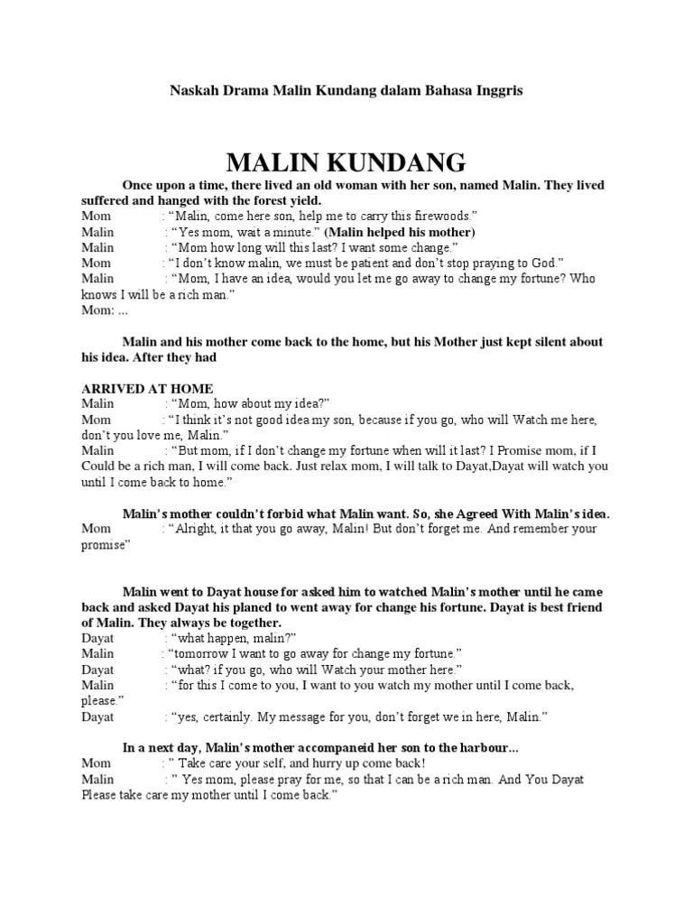 Teks Dialog Malin Kundang : dialog, malin, kundang, Naskah, Drama, Malin, Kundang, Dalam, Bahasa, Inggris