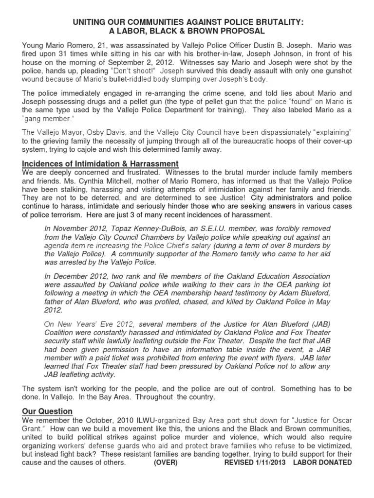 Labor Black Brown Proposal Strike Action Police