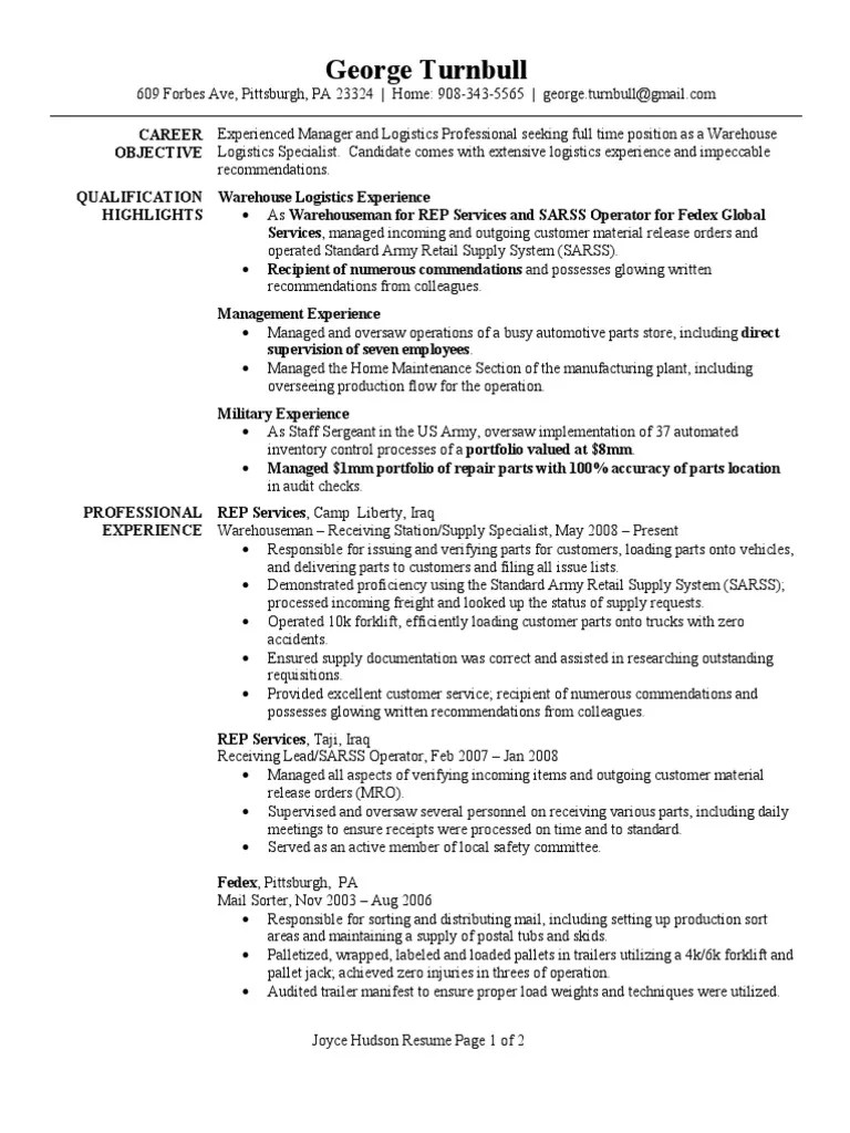 Warehouse Logistics Specialist Resume Sample Logistics
