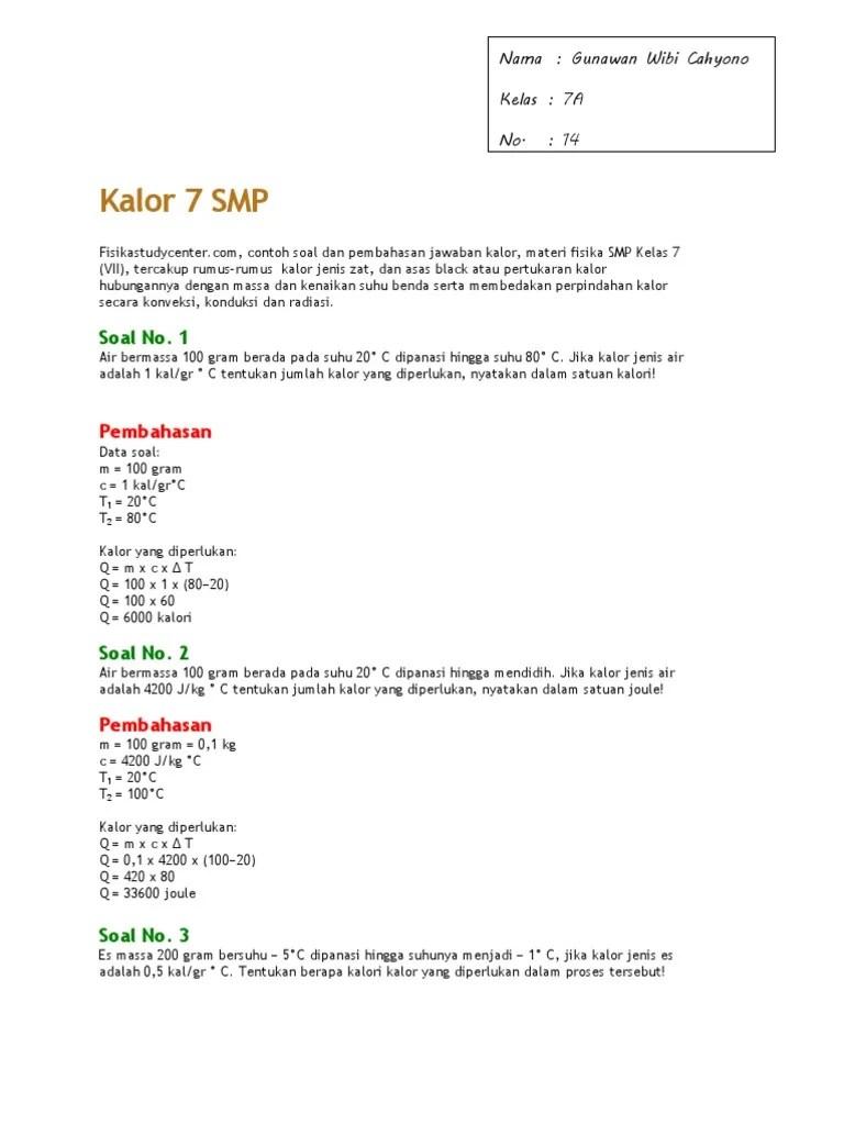 Materi Kalor Kelas 7 Contoh Soal Kalor dan Jawabannya | Blog IPA...