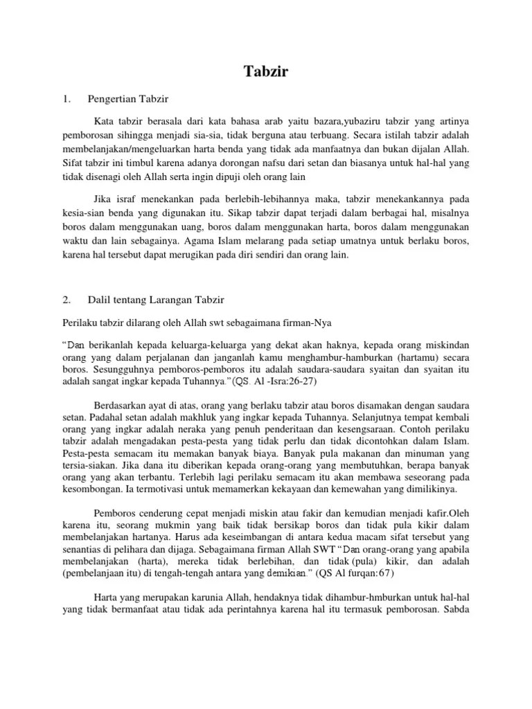 Pengertian Tabzir (Pemborosan) Lengkap - Hafizi Azmi
