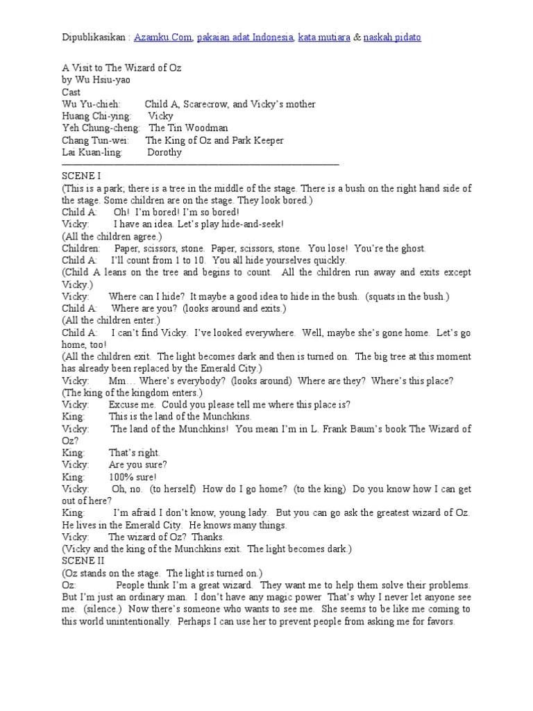 Teks Drama Bahasa Indonesia : drama, bahasa, indonesia, Contoh, Naskah, Drama, Bahasa, Inggris, Orang, Pemain, Dorothy, Wonderful, Wizard