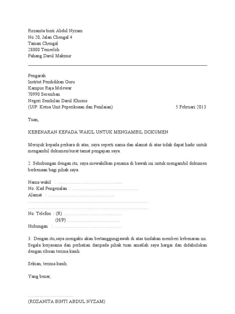 Surat Rasmi Memberi Kebenaran Surat Ras Cute766