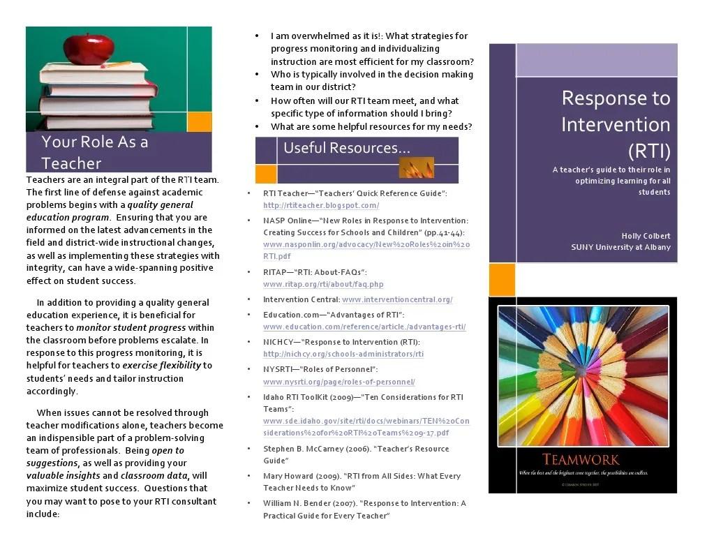 Rti Brochure Teachers Quality Of Life Pedagogy