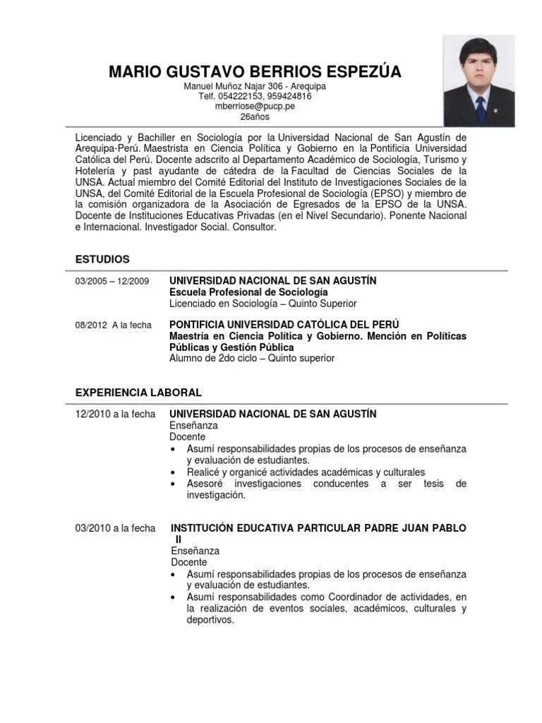 Modelo De Curriculum Vitae Profesional Doc Sample Resume Service