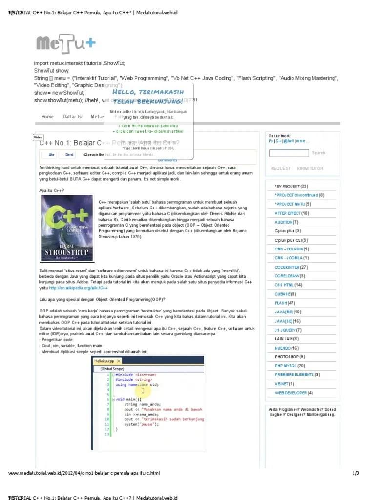 Tutorial Bahasa C : tutorial, bahasa, TUTORIAL, No.1_, Belajar, Pemula,, Mediatutorial.web