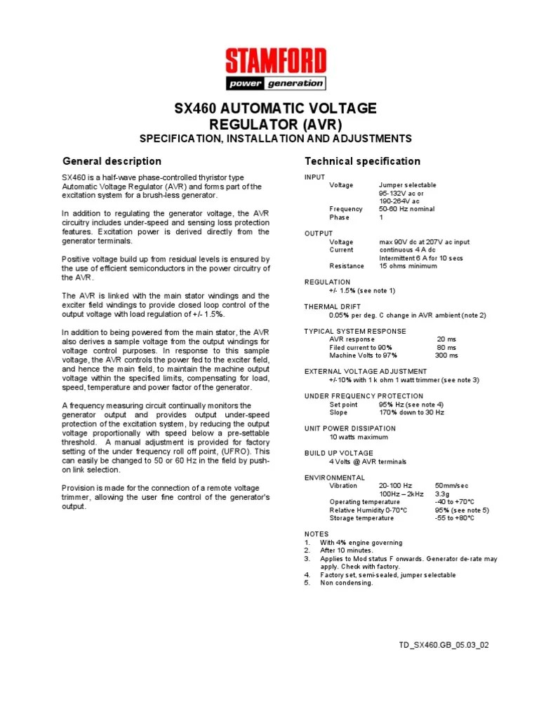 medium resolution of voltage regulator stamford sx460 avrsx460 avr wiring diagram 9
