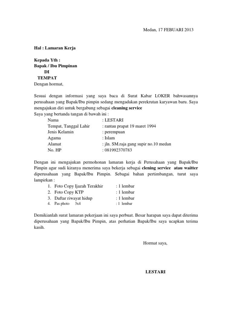 Contoh Surat Lamaran Kerja Cleaning Service Di Sekolah Cute766